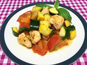 鶏むね肉と夏野菜の彩炒め019