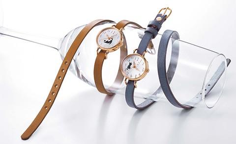 華奢な二重巻き革ベルトがおしゃれな猫好きのための腕時計