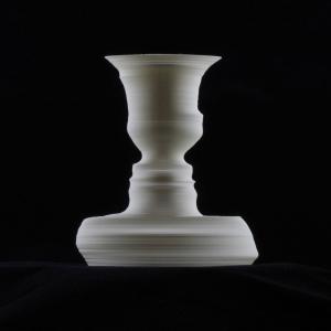 Custom 3D-printed vase in white PLA