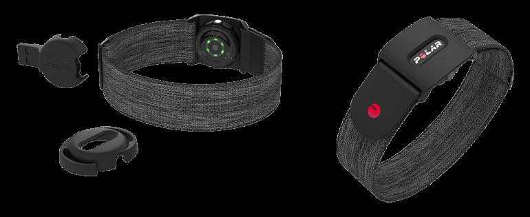 水泳時のゴーグルにも装着できるポラールの光学式心拍センサー「Verity Sense」